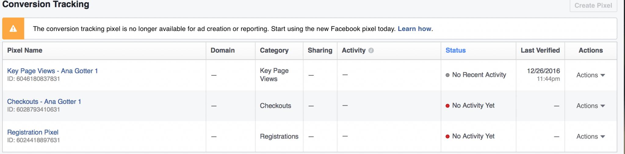 new conversion pixel Facebook