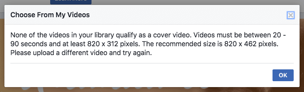 Facebook cover video dimensions according to Facebook.