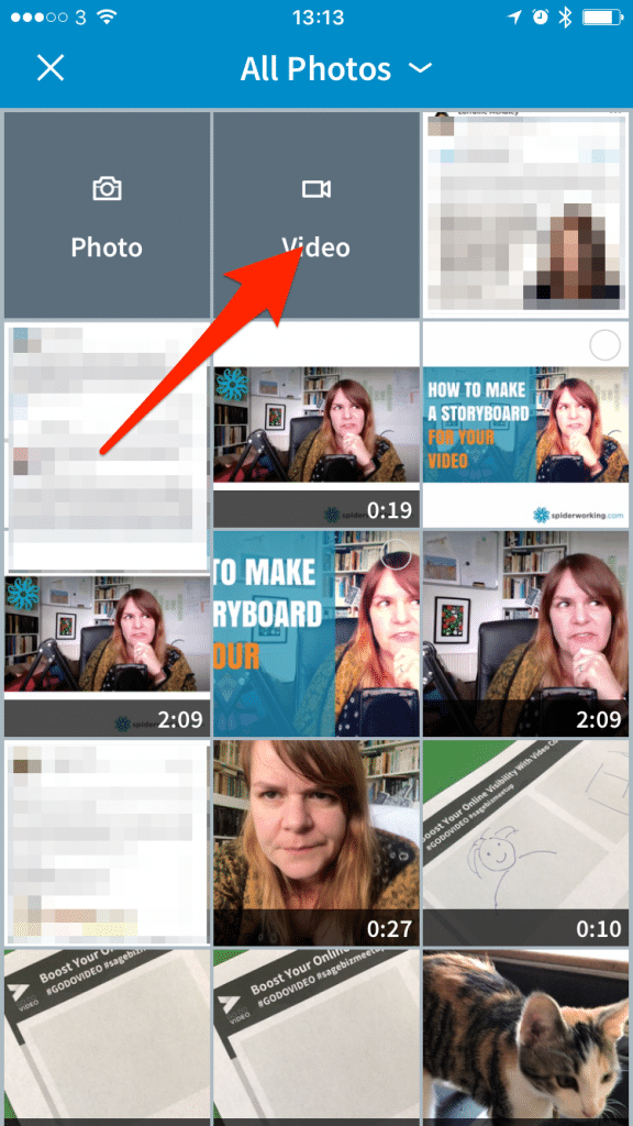 Choose a video from your camera roll or shoot one