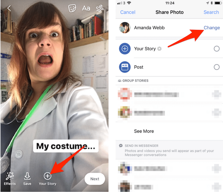 Use the camera in your Facebook app to send story elements to your Facebook page