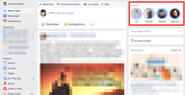 Facebook stories appear on desktop as well as mobile