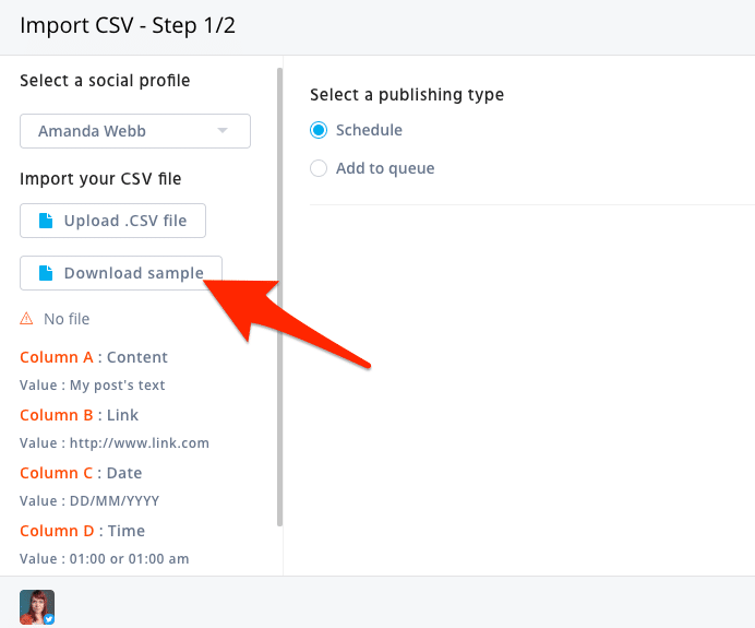 download sample bulk scheduling file