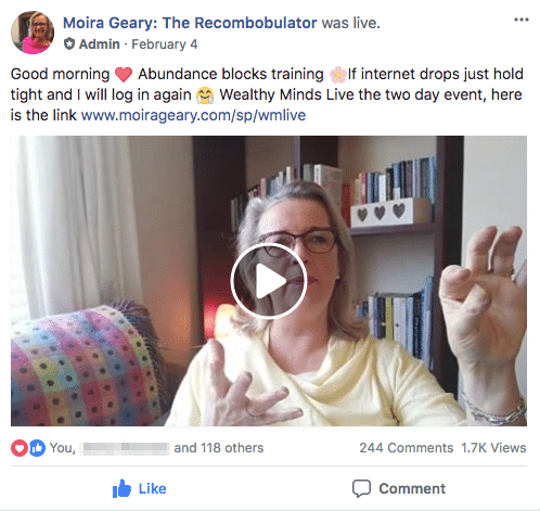 Keep my Facebook group alive: Moira in the Positive Recombobbers Facebook group uses Facebook Live to build stronger relationships with her audience.