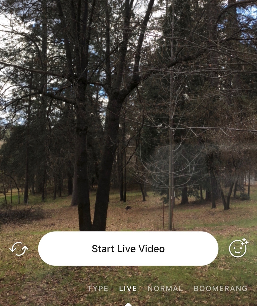 Instagram screen to start a live video