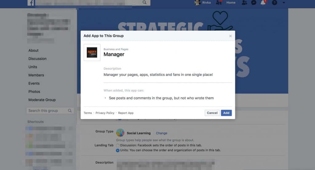 Post on Facebook group-- Adding the Agorapulse app to your Facebook group