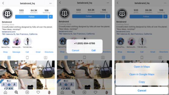 Instagram Business Profile Action Buttons