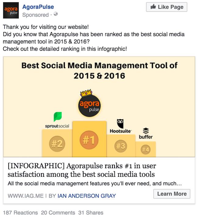 Agorapulse Facebook ad example 1