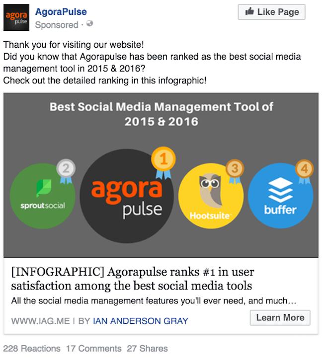 Agorapulse Facebook ad example 2