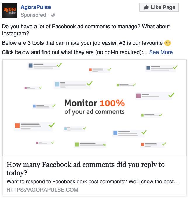Agorapulse Photo Link Ad Facebook Video Ads Test