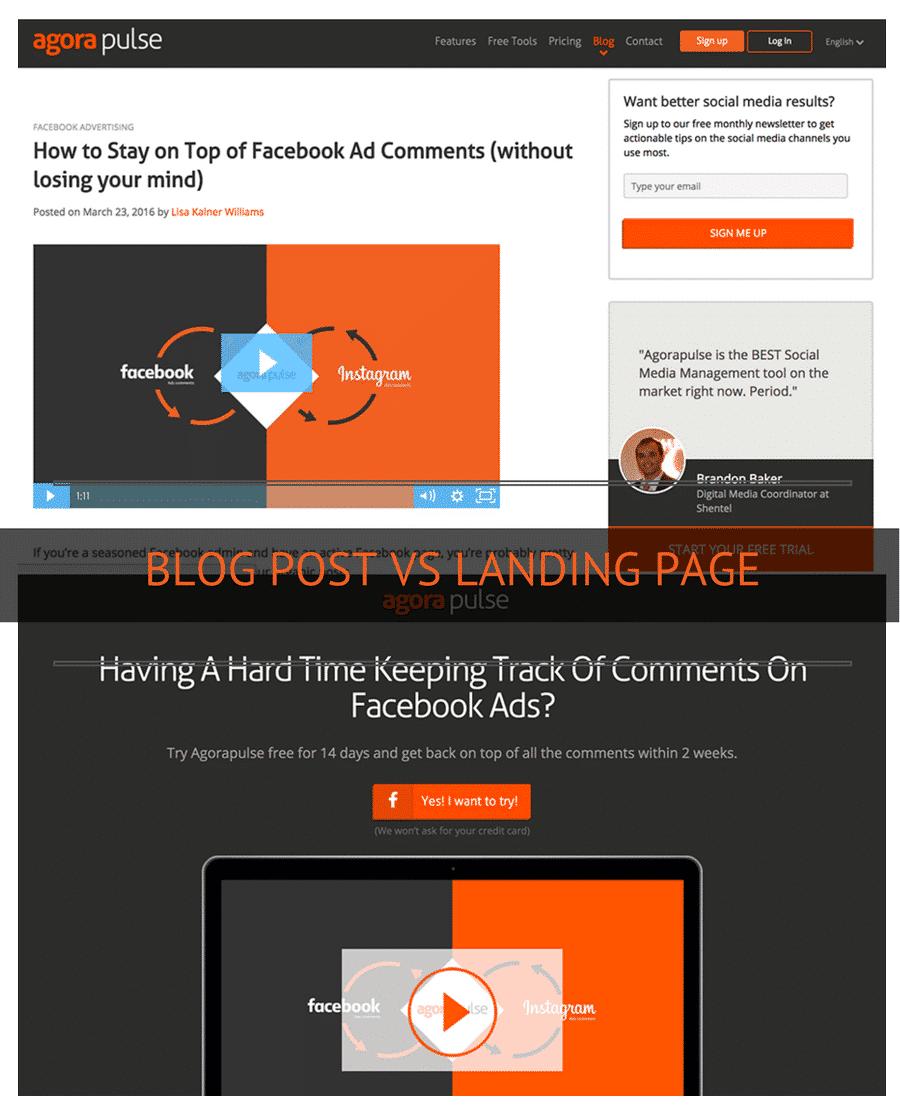 blog post vs landing page