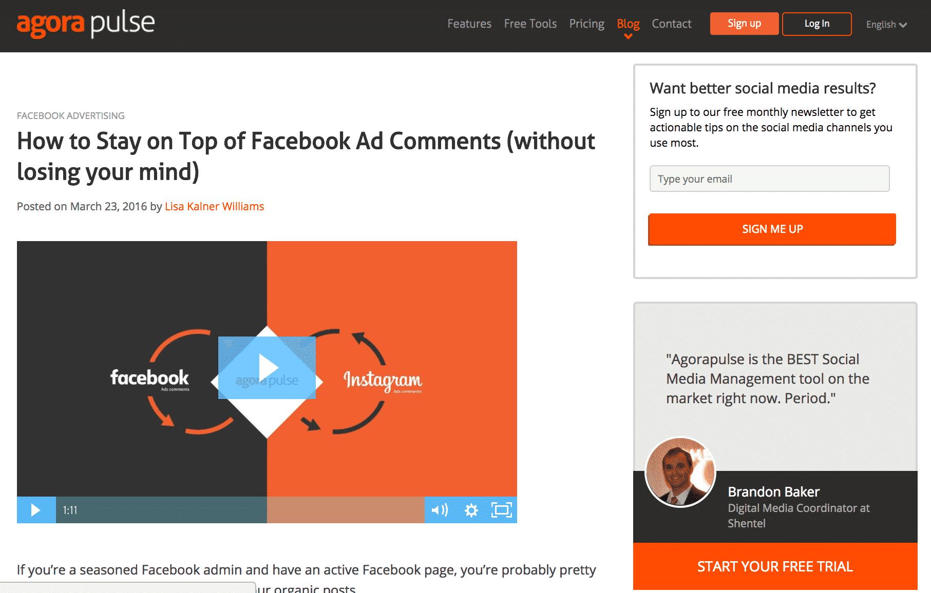facebook ad test blog post