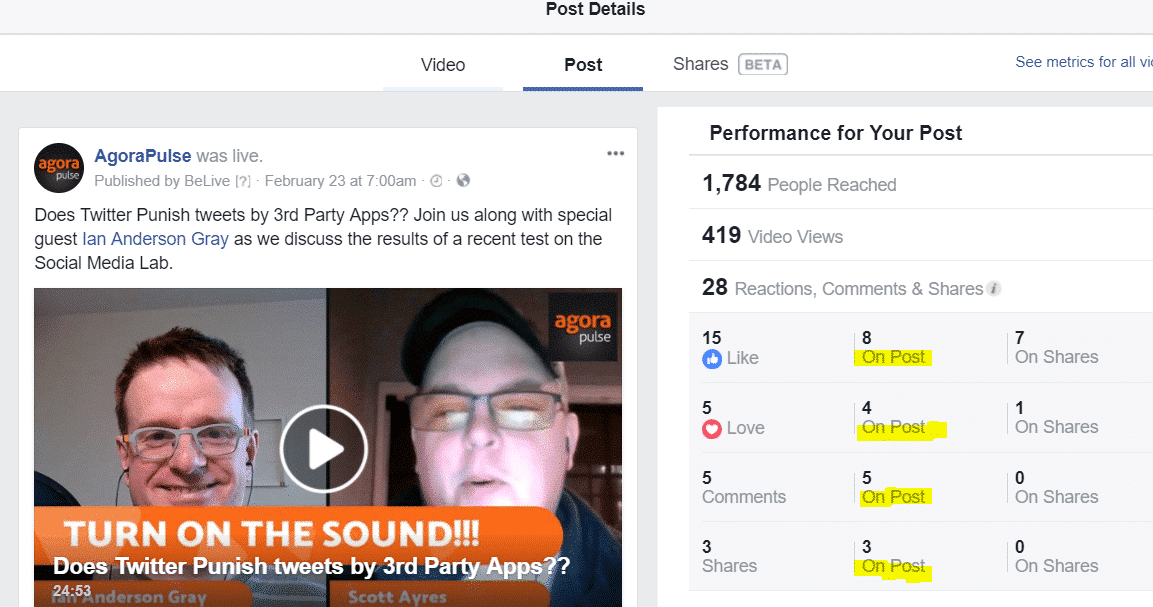 facebook engagement on post