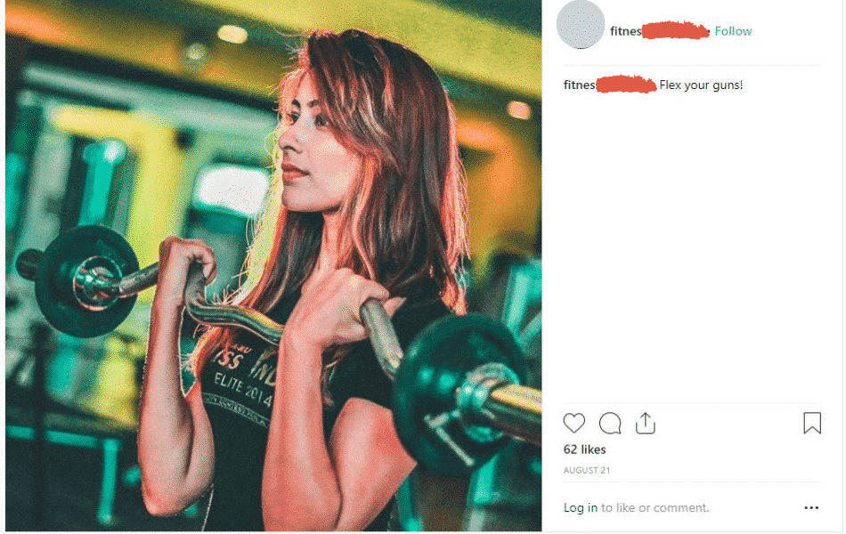 woman lifting weights in Instagram photo