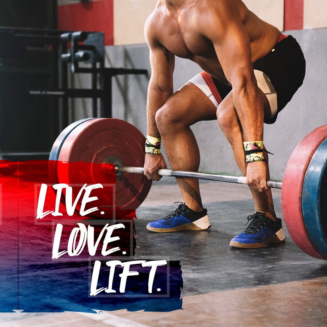man lifting weight with Live Love Lift on the photo