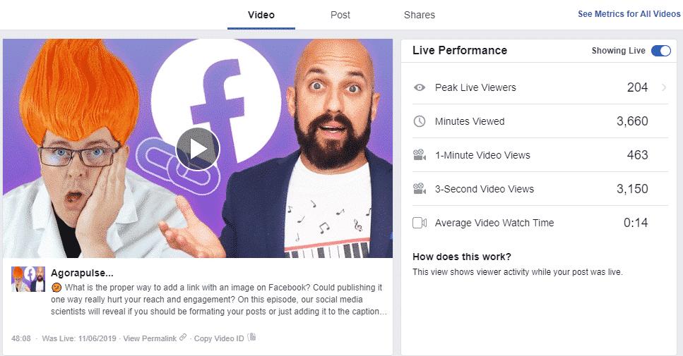 facebook live stats