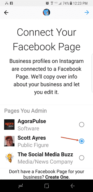 select business page instagram