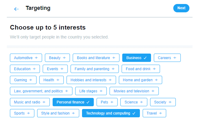 twitter promote interests