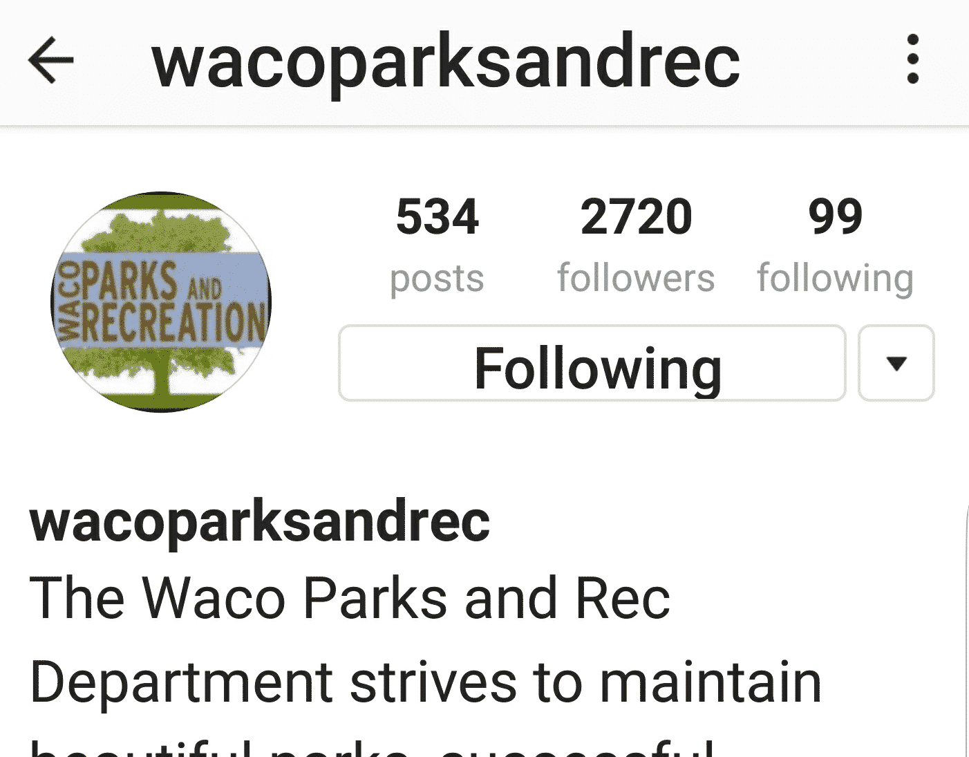 waco parks and recreation instagram