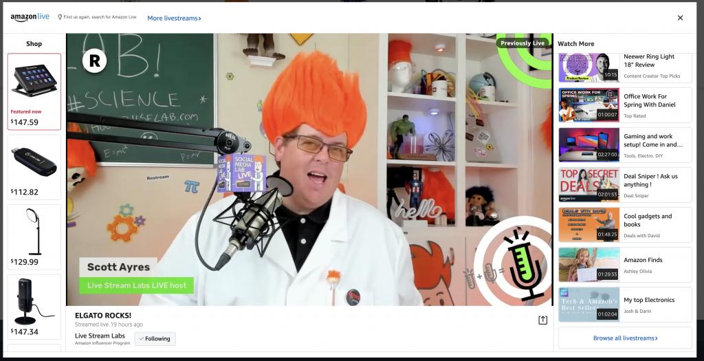 Amazon Live show screenshot